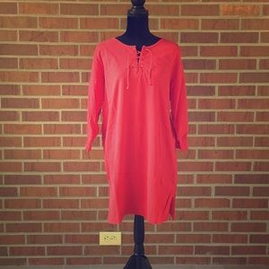 Lands End red long sleeve cover up